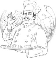 skiss pizzeria restaurang kock pizza kock salong tecknad ritning vektor