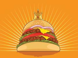 kung hamburgare tecknad burger patty ritning vektorillustration vektor