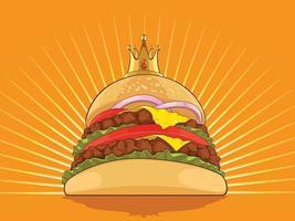 König Hamburger Cartoon Burger Pastetchen Zeichnung Vektor-Illustration vektor