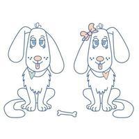 Haustiere - er und sie. ein süßes Paar weißer Hunde mit einer heraushängenden Zunge und einem Herzen am Hals und einer Schleife am Ohr. Der Knochen liegt zwischen ihnen. vektor