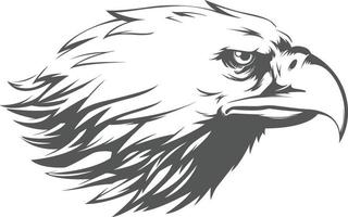 Adlerfalke Falkenkopfprofil Seitenansicht Silhouette schwarze Illustration vektor