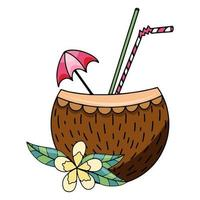 Sommerferien Kokosnuss-Coctail-Smoothie-Hand gezeichnete Vektorillustration lokalisiert auf weißem Hintergrund vektor