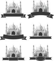 silhuett moskén islamisk masjid ramadan hälsning vektorillustration vektor
