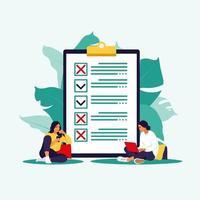 checklista, att göra-lista. lista eller anteckningar koncept. affärsidé, planering eller kaffepaus. vektor illustration. platt stil.