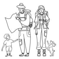 lineare Umrisszeichnung Touristenfamilie. ein Mädchen einen Rucksack hinter dem Rücken, um zu reisen. Ein Mann mit Hut hält eine Karte in den Händen, ein Kind steht in der Nähe und ein Hund springt. Reisekonzept. Vektor
