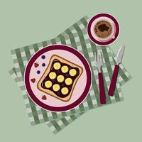 Frühstück mit Pfannkuchen und Kaffee von oben vektor