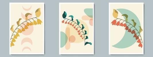 botanisk väggkonstvektoraffisch vår, sommaruppsättning. minimalistisk lövverk med abstrakt enkel form vektor