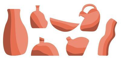 Hand zeichnen Keramikvase, Tongeschirr und Töpfe. trendige Collage zur Dekoration im ökologischen Stil.