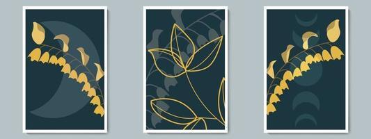botanischer dunkler Wandkunstvektorplakatsatz. minimalistisches Schattenlaub mit Nachthintergrund. vektor