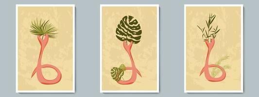 Hand zeichnen ungewöhnliche Schlangenkeramikvase mit tropischen Pflanzen. trendige Collage zur Dekoration im griechischen Stil