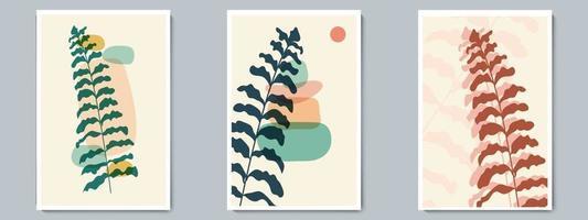 botanisk väggkonst vektor affisch färgad uppsättning. minimalistisk lövverk med abstrakt enkel form