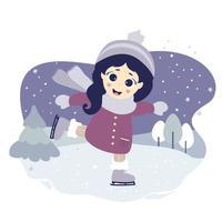 söt flicka skridskoåkning på en blå dekorativ bakgrund med ett vinterlandskap, träd och snö. vektor