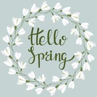 runder Rahmen mit Schneeglöckchen. Hallo Frühling. Vektor mit Inschrift und Rand. Frühlingspostkarte. Beschriftung.