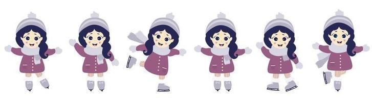 vintersport och rekreation. söt tjej skridskoåkning i olika poser. vektor