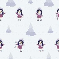 nahtlose Muster. niedliches kleines Mädchen Eislaufen in verschiedenen Posen vor dem Hintergrund von Schnee und Weihnachtsbäumen. vektor