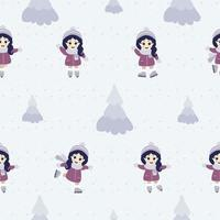 sömlösa mönster. söt liten flicka skridskoåkning i olika poser mot bakgrund av snö och julgranar. vektor
