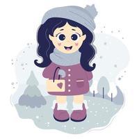 söt tjej ute på promenad i vinterkläder vektor