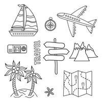 Doodle-Satz von Reisesymbolen vektor