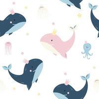 nahtlose Muster mit Meerestieren. niedlicher Blau- und Rosawal, Quallen und Tintenfisch auf hellem Hintergrund. Vektor. für Design, Dekoration, Druck, Textilien, Verpackung und Tapeten vektor