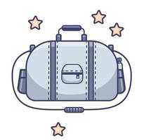 Gepäck. große sportliche graue Tasche, Gürtel für Sport und Reisen. Vektor