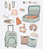 Satz von Vektorzeichnungen von Gepäck, Kleidung und Dingen für Reisen und Urlaub. vektor