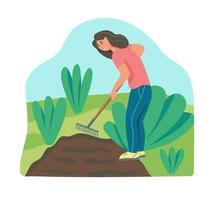 Gartenarbeit. Eine junge Frau arbeitet im Garten und kratzt den Boden. flache Vektorillustration. vektor