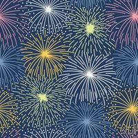 nahtloses Muster mit buntem Feuerwerk auf dunklem Hintergrund vektor