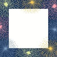 Rahmen mit buntem Feuerwerk auf dunklem Hintergrund vektor