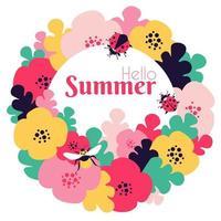 Hallo Sommerkarte mit Blumenmotiven und Insekten vektor