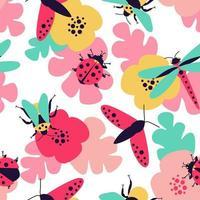 Nahaufnahme nahtloses Muster mit Insekten - Schmetterling, Hummel, Libelle, Marienkäfer und Blumenmotive vektor