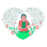 eine Dame im Alter mit einem Buch in einem schönen Blumenrahmen vektor