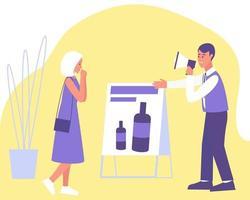 Eine Frau interessierte sich für die Werbung für ein kosmetisches Produkt vektor