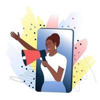 kvinna, opinionsledare talar från en smartphone via en megafon om en produkt som hon gillar