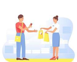 Ein zufriedener Käufer kauft beim Verkäufer im Geschäft ein vektor
