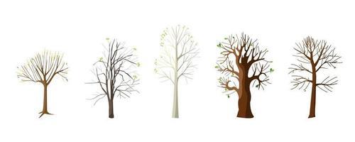 flache Sammlung mit Frühlingsbäumen vektor