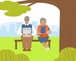 ältere Menschen lesen, während sie in einem Park auf einer Bank sitzen vektor