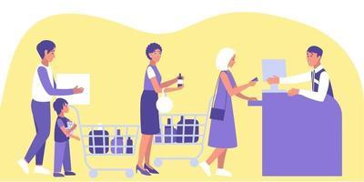 männliche und weibliche Kunden stehen an der Kasse in der Warteschlange vektor
