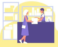 Point-of-Delivery-Pakete, Sachbearbeiter gibt Paket an Frau, tolles Design für jeden Zweck vektor