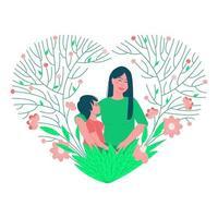 Mutter mit einem Kind in einem zarten schönen Blumenrahmen vektor