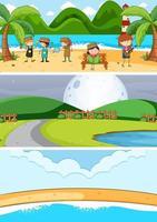 uppsättning av olika horisont scener bakgrund med doodle barn seriefigur