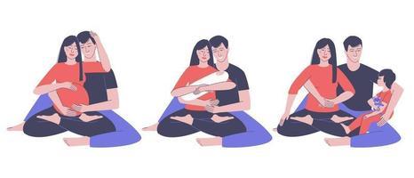 Satz einer glücklichen Familie von Eltern mit einem Baby vektor