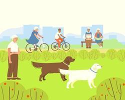 Entspannen Sie im Park für ältere Menschen vektor