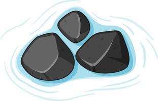 Gruppe von schwarzen Steinen auf Wasser auf weißem Hintergrund vektor