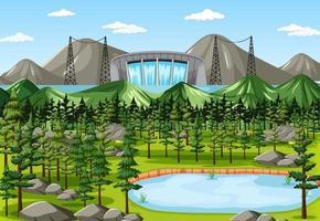 scen med vattendammbakgrund