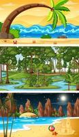 uppsättning olika typer av skogens horisontella scener