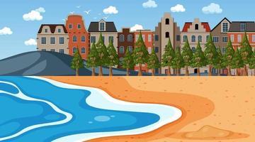 strand scen med stadsbild bakgrund