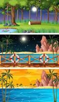 tre olika natur horisontella scener