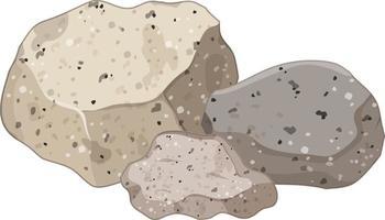 Gruppe von Granitsteinen auf weißem Hintergrund vektor