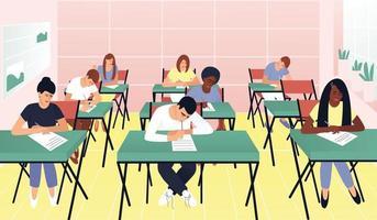 Die Schüler schreiben eine Testprüfung in einem schönen Klassenzimmer vektor