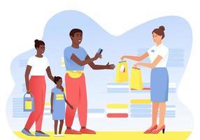 den afroamerikanska familjen gör köp från säljaren i butiken